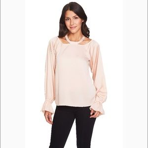 NWT 1. State Blush Bell Sleeve Blouse w/ Neckline